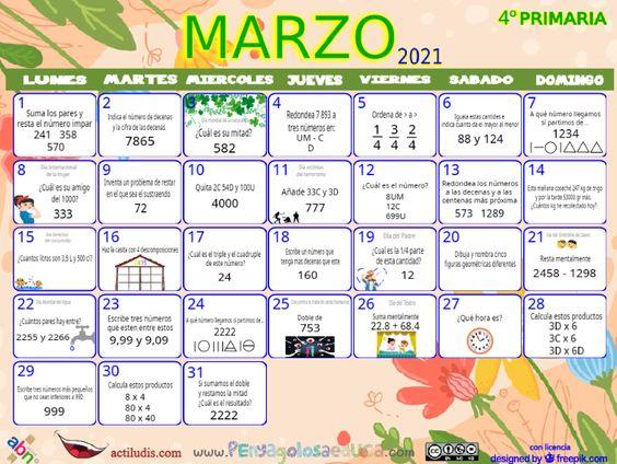 Calendario Cuarto ABN – Marzo 2021