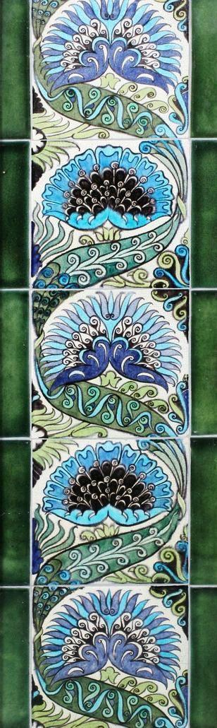 William De Morgan 'Mongolian' pattern five tile panel Circa 1890