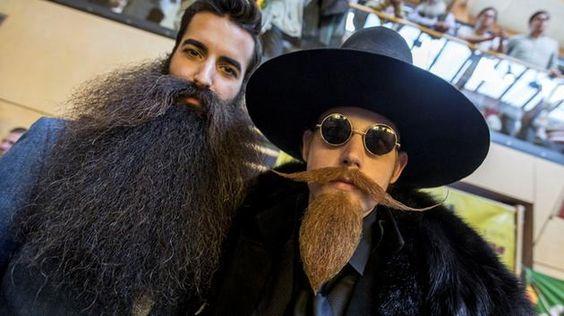 Contestants in the World Beard And Mustache Championships pose for a picture on…