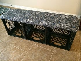 Adventures in Math - Tales of a 3rd Grade Teacher: Mission Organization: Making a Milk-Crate Bench