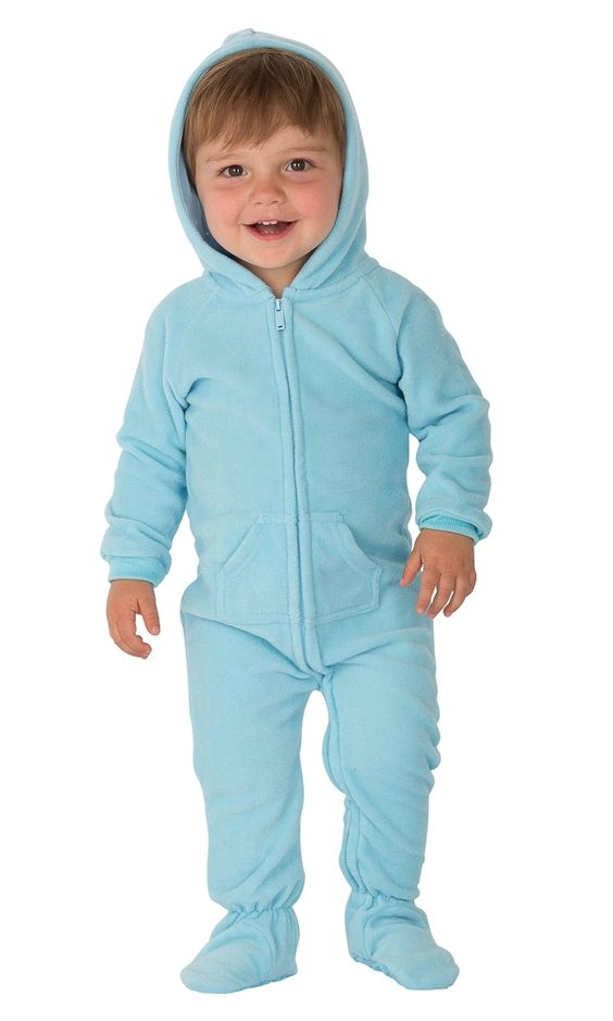 Baby Blue Hooded Footed Pajamas
