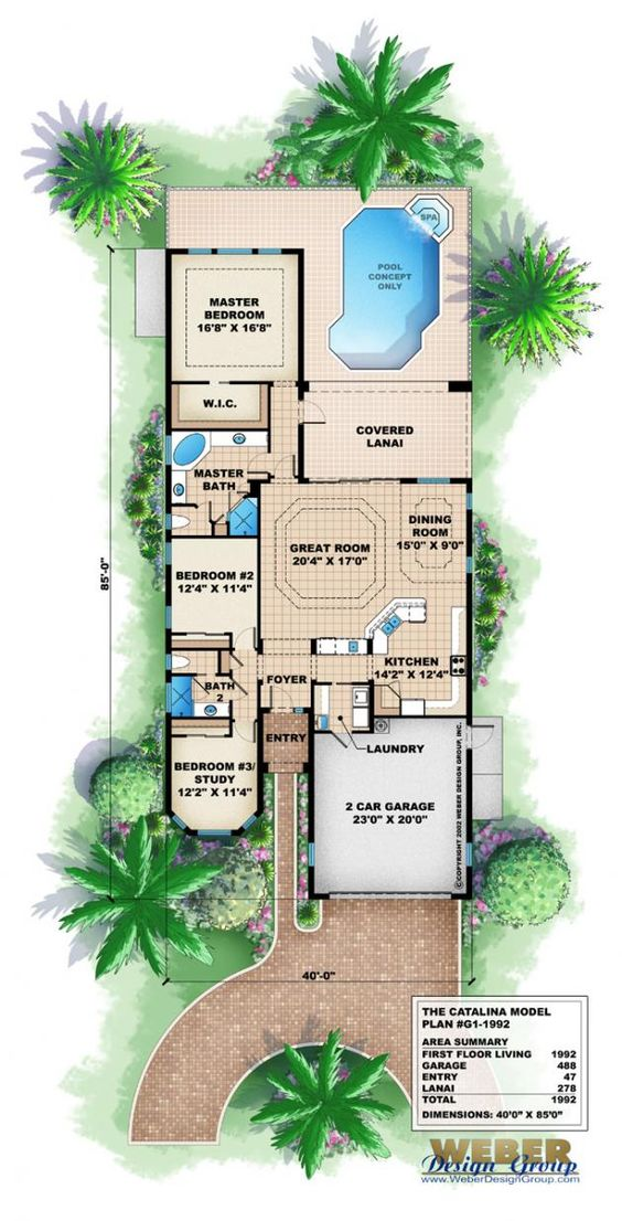 mediterranean floor plan catalina home plan nice and small good lanai