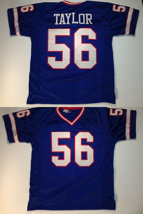 Sports Memorabilia: New York Giants Lawrence Taylor Unsigned Custom Blue Jersey - 2Xl BUY IT NOW ONLY: $33.99