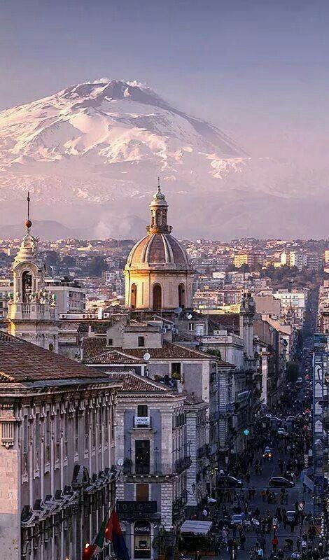 Catania and Etna with snow