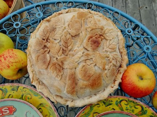 ...a quiet life...: apple week, I love how she created a little apple tree scene with the pastry on this apple pie.