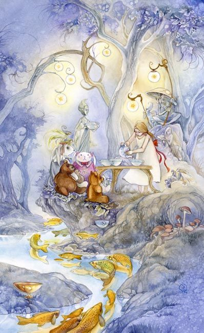 Six of Cups, Shadowscapes Tarot: Childhood innocence, good intentions, noble impulses, simple joys and pleasures.