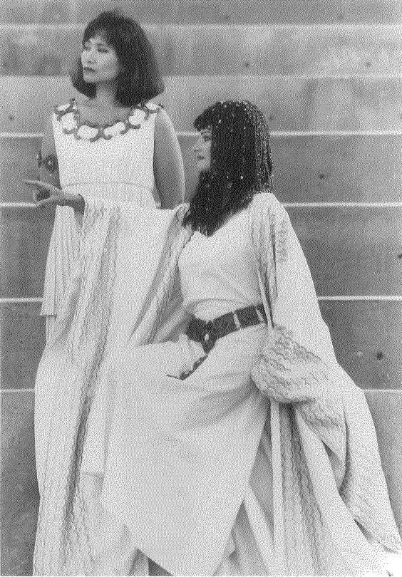 Miki Kim (left) as the servant of Charmin & Lura Dolas as Cleopatra in ANTONY AND CLEAOPATRA, 1991. #calshakes40th