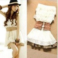 Lace Tube Top Pleated Chiffon Dress<3