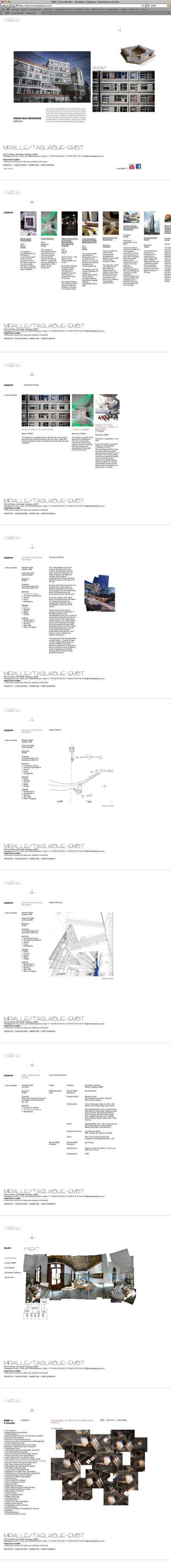 Official website of the architectural studio EMBT Miralles Tagliabue. Design: albertclaret.com