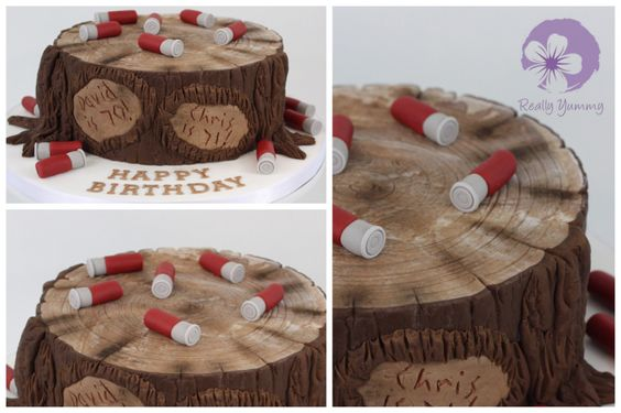 Shooting and tree stump cake