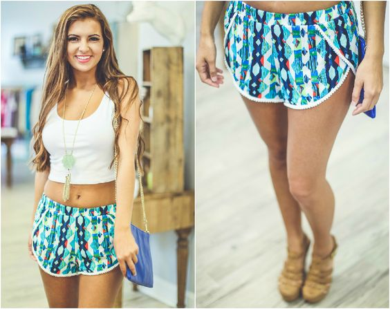 Abstract patterns are great because you can match them with so many different colors! Get these new Diamond Abstract Print Shorts in Blue for ONLY $26 and pair them with all your favorite tops!