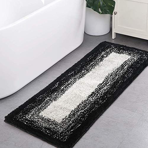 Bath Rug Runner Haocoo Banded Ombre Black Bath Mat Non Slip 18x47 Inch Long Bathroom Rugs Water Absorbent Soft Luxury Microfiber Machine Washable Bath Floor Ru Bathroom Rugs Bath Runner Rugs Long Bathroom