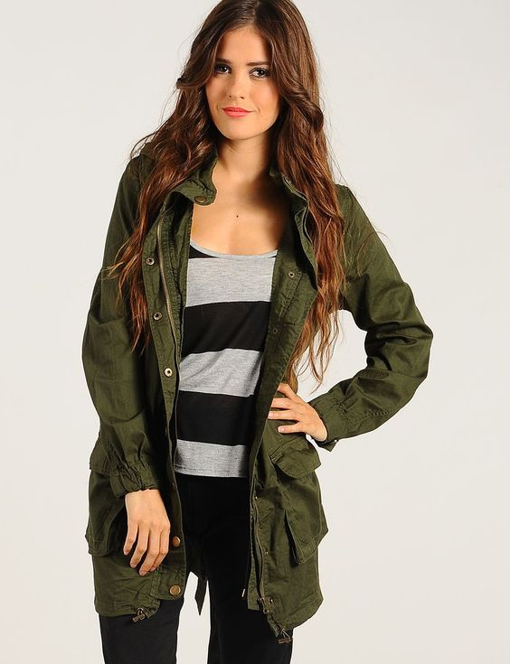 Military Green Off Duty Parka Jacket | $18.50 | Cheap Trendy