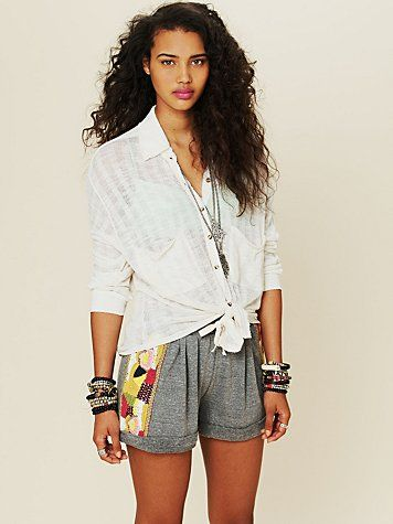 Heather Embroidered Short, free people, diy with crochet