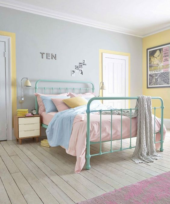These pretty pastel hues are pefect for a retro room #bedroom #yellow #yellowroom #decor #homedecor #interiordesignideas