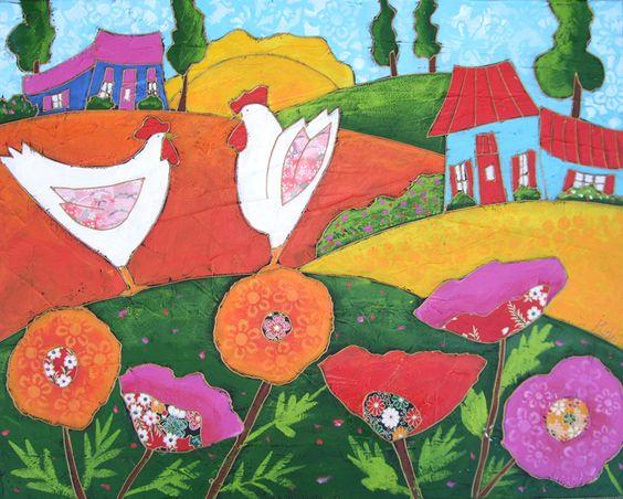 Les 2 poules dans les pavots par Isabelle Malo • Acrylique sur toile et collage • Mixed media • Folk art  • www.isamalo.com • Artiste peintre du Québec •Art naïf