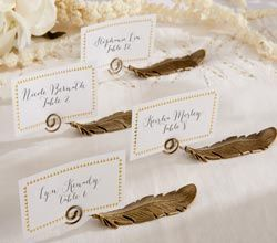 Gilded Gold Feather Place Card Holders (Set of 6) - By Kate Aspen