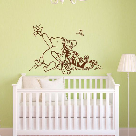 Winnie the pooh wall decals and piglets on pinterest for Classic pooh nursery mural