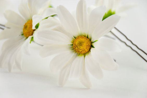 Fantastic and absolutely naturalistic daisy hair pin. This is one of my favorite and most successful hair flower accessories. It can be a perfect wedding hair accessory or stylish hair flower for everyday usage.  This daisy hair pin is made of top-class polymer clay that is absolutely safe and durable. It is a great hair accessory fitting any hairstyle and a perfect chance to stand out from the crowd. _______________  Size: Pin length - 6 cm (2,36) _______________