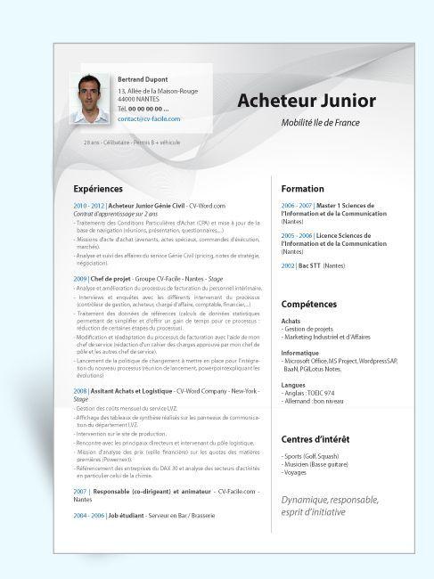 Modele Cv Original Acheteur Junior Modele Cv Exemple Cv Lettre De Motivation Emploi