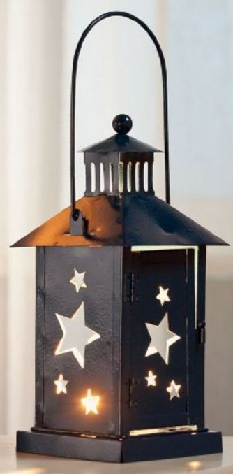 Painted Blue Metal Star Cut-Out Lantern