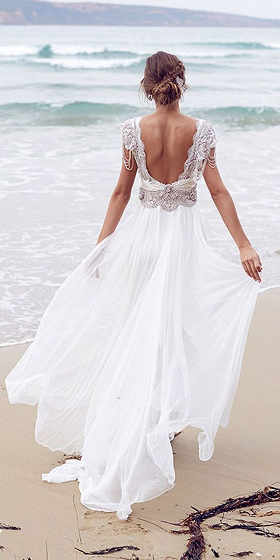 27 beach wedding dresses perfect for destination weddings for Beach themed wedding dress