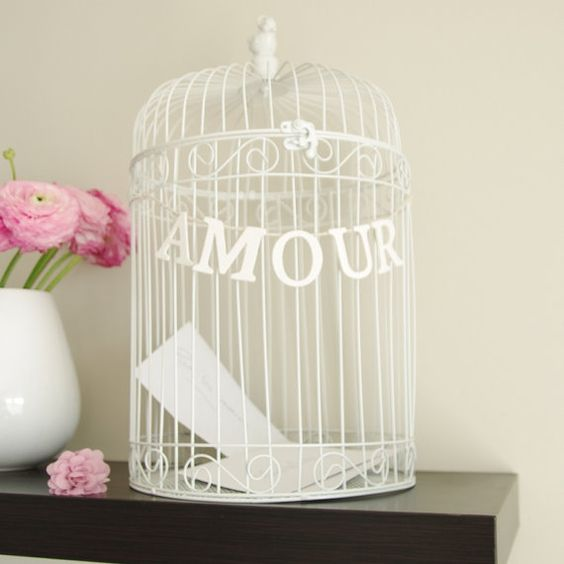 urne de mariage cage oiseaux wedding card by saveyourdeco 4490 - Urne Mariage Cage