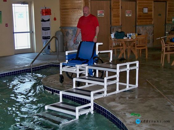 Pool ladder above ground swimming pools and swimming pools on pinterest - Above ground pool steps for handicap ...