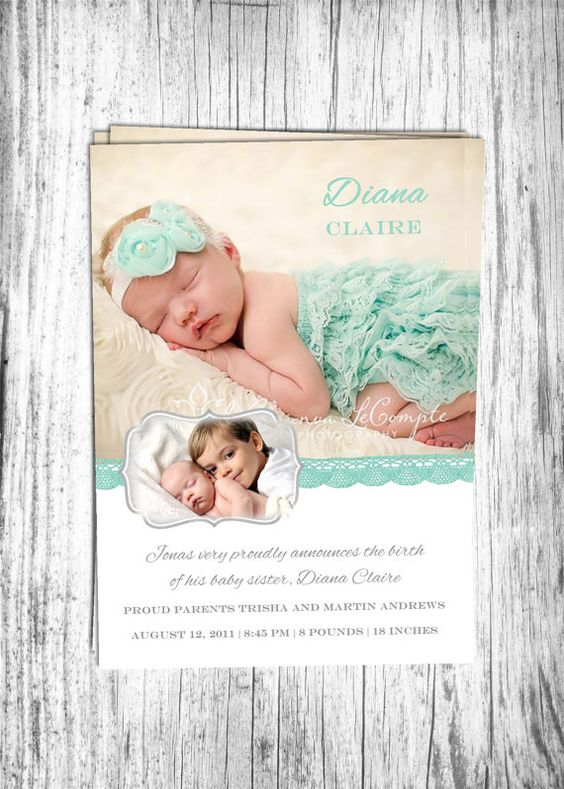 Baby Birth Announcement Boy or Girl and Sibling Printable Digital – Big Sister Birth Announcement