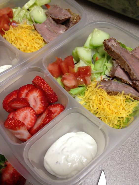 Chef salad with grilled steak and strawberries via The Family Lunchbox