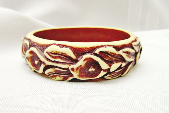 Carved flower bangle brown cream yellow resin lily bracelet