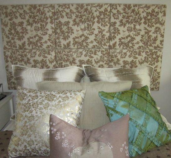 DIY upholstered headboard.
