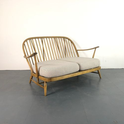 This Refurbished Blonde Ercol Windsor 2 Seater Sofa Is Newly Upholstered In Lovely French Ticking Ercol Furniture Sofa Ercol