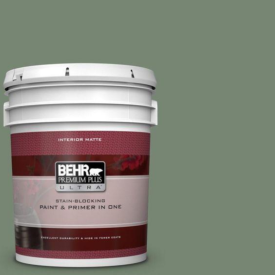 Behr Premium Plus Ultra 5 Gal 440f 5 Winter Hedge Matte Interior Paint And Primer In One Interior Paint Behr Exterior Paint