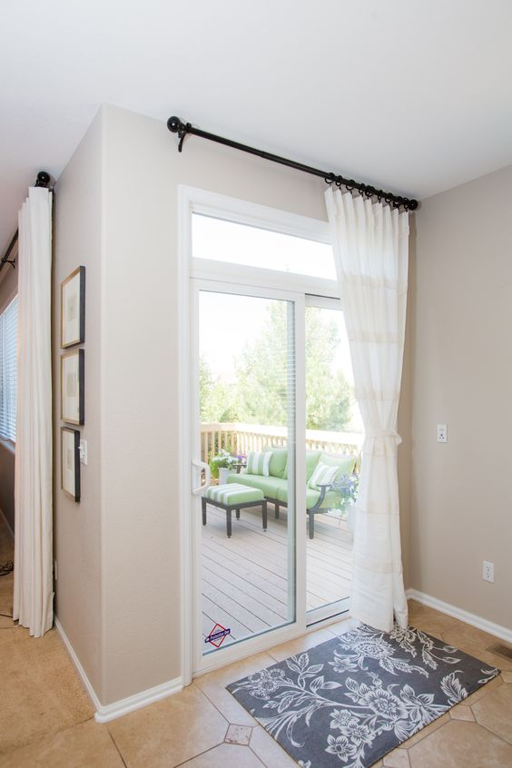White Sliding Glass Door Curtain Shade Curtains On The Side And Sliding Glass Door