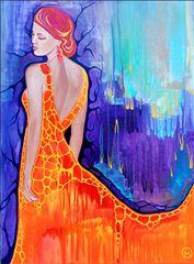 "Michelle Oravitz.  ""I Heard a Whisper""  Acrylic on canvas painting.  Mystical, abstract, fantasy, feminine art."