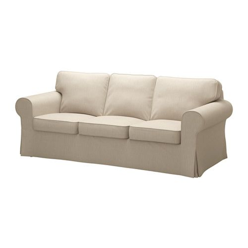 IKEA - EKTORP, Three-seat sofa, Nordvalla dark beige, , Seat cushions filled with high resilience foam and polyester fibre wadding give comfortable support for your body, and easily regain their shape when you get up.Reversible back cushions filled with polyester fibres provide soft support for your back and two different sides to wear.The cover is easy to keep clean as it is removable and can be machine washed.A range of coordinated covers makes it easy for you to give your furniture a new…