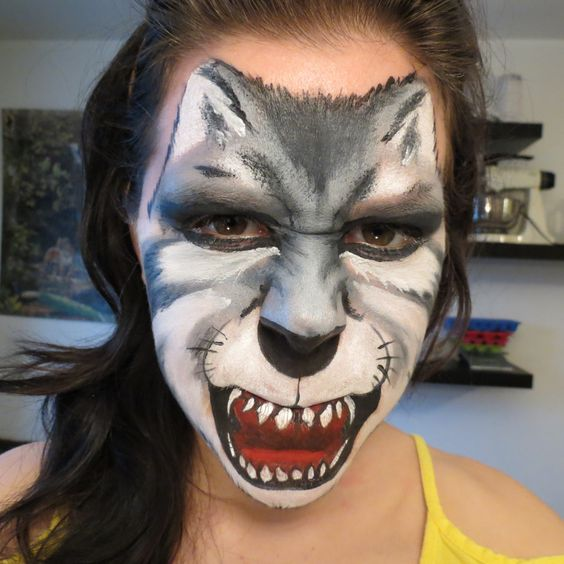 Maquillage de fantaisie loup fantasy make up wolf face painting for kids maquillage pour - Maquillage loup facile ...