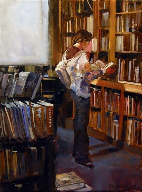 Among the art books. by Onelio Marrero