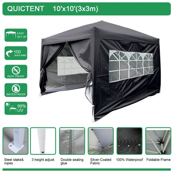 Quictent Silvox Waterproof 10x10' EZ Pop Up Canopy Gazebo Party Tent Black Portable Style Removable sides With Roller Bag. After several years of experiment, finally we developed the silvox technology. Silvox® adopting unique workmanship that silvers the high density Oxford.Silvox®fabric is the only fabric that can ensure you 100% waterproof,and it is aslo technology UV-resistance to some extent.This technology is owned and registered by Quictent. Ideal for family parties, weddings…