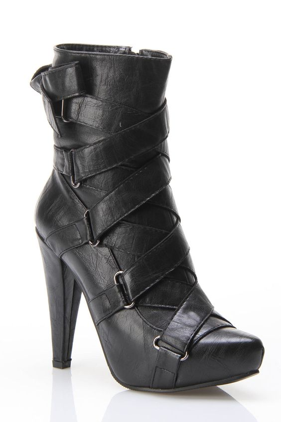 Black Strap Ankle Boot