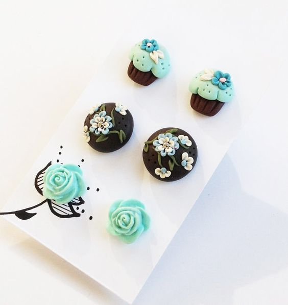 Minze Blue Ohrringe Set, Post Earrings, Cupcake Ohrstecker, rosa Ohrringe, Fimo, Frühling, Geschenkset, Shower Gift, Easter Basket