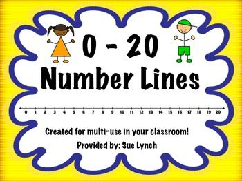 FREEBIE! Number Lines 0-20 Color and Black & White~Print, laminate ...
