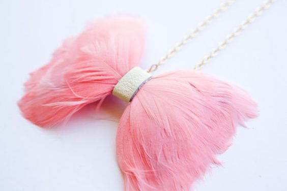 Watermelon Light Pink Feather Bow Tie Necklace by ourhousedesign, $40.00