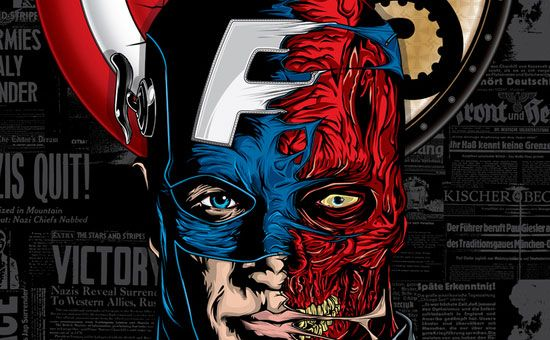 Cap v. Red Skull by Anthony Petrie Illustrated Poster Design