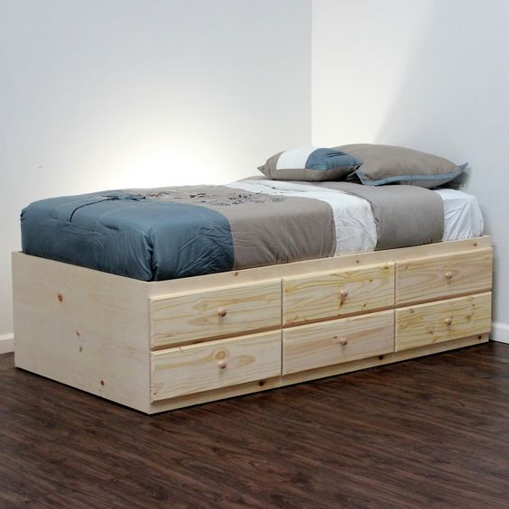 Extra long twin storage bed 6 drawers in pine platform for Twin platform bed frame with drawers