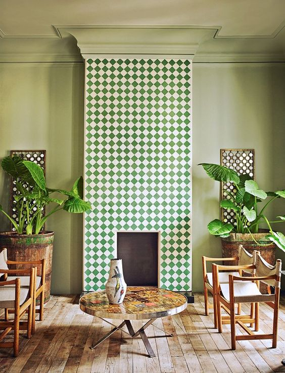 Tiled fireplace: