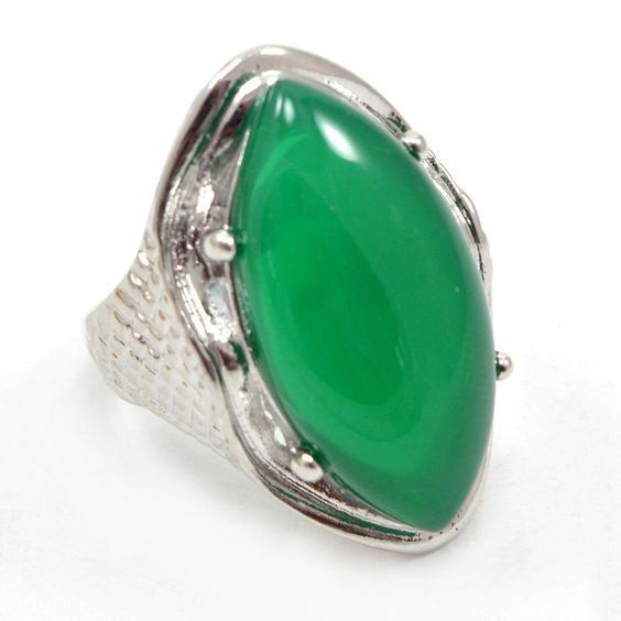 Royal ! Green Onyx 925 Silver Overlay Ring Antique Jewelry Sz 10 AU 15125 #PinkCityGems #ExclusiveCollection