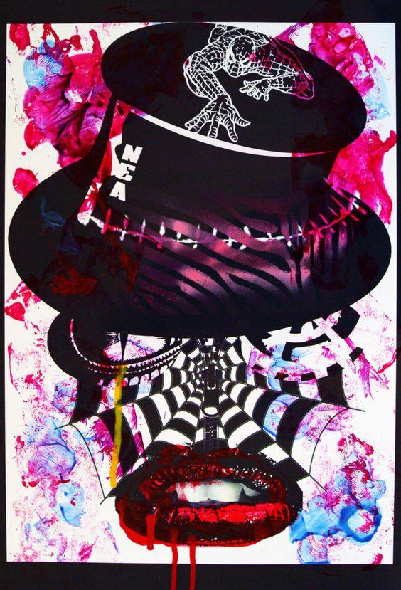 Pop Art Brut Singulier Peinture sur Création Numérique Nea Borgel Freaks Skull
