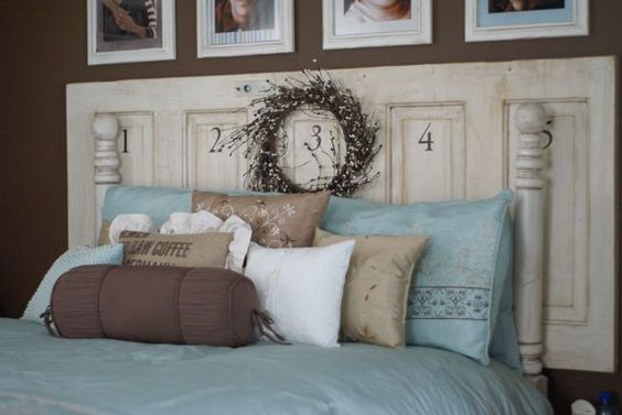 Old Door Headboard And Lots Of Hand Made Pillows Old